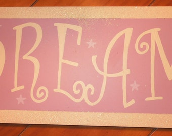 DREAM hand painted purple, glittered curly font nursery art, girl's room sign