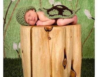 Newborn Little Turtle Cover Cape and Hat Set Crochet Photo Prop