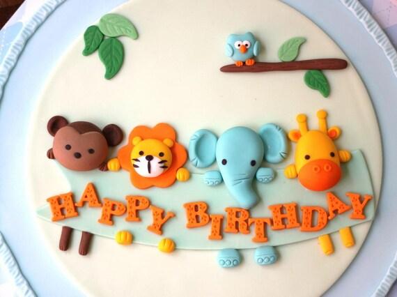 Fondant Cake Topper Over 30 Pieces Animal Parade/Jungle