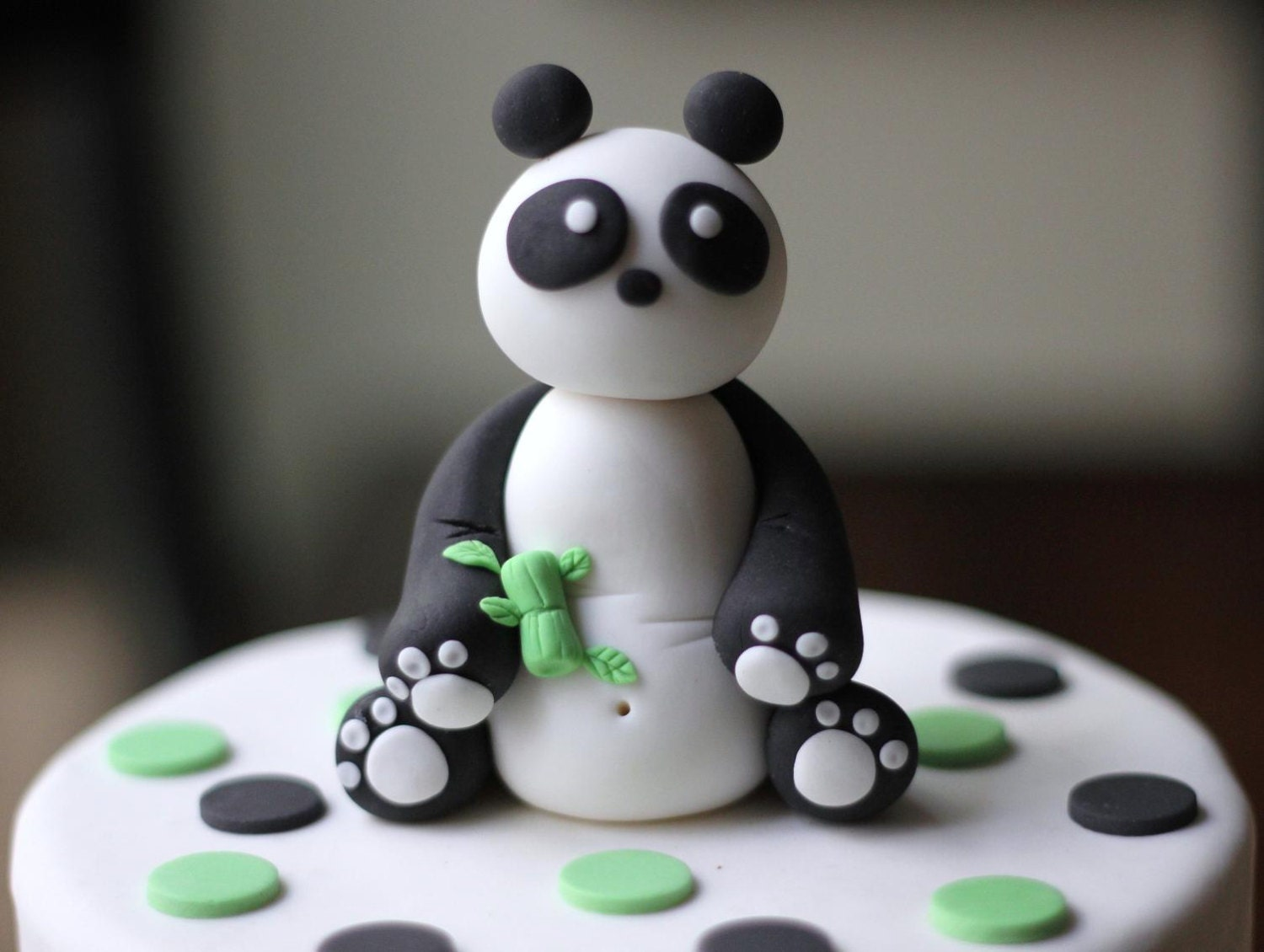 Fondant panda cake topper. This set comes in over 25 pieces