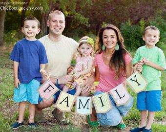 FAMILY Burlap Banner Bunting Pennant Newborn Photo Prop Nursery Decoration Photography Studio Decoration Photo prop, Family Photo Prop
