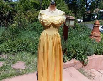 Vintage 1940's Golden Yellow Satin Gown Matching Satin Finger-less Gloves Ruched Net Bodice 40's Sun Goddess Glamour Fabulous Condition