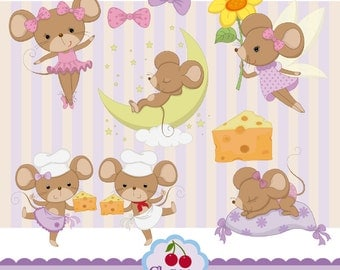 Cute Mice digital clipart set and matching papers pack-Personal and Commercial Use-paper crafts,card making,scrapbooking,web design