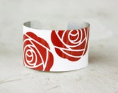Red Rose Bracelet - Rose Cuff Bracelet - Red and White Cuff - Rose Jewelry - Ladies Bracelet - Large Cuff Bracelet by Zoe Madison (207)