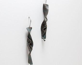 Moody Rustic Copper Earrings - Dark Brown Copper Earrings - Copper Patina Dangles - Oxidized Copper Earring - Long Drop Earrings Copper