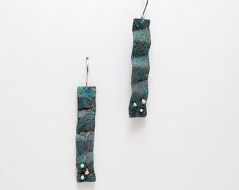 Long Drop Earrings - Copper Drop Earrings - Blue Earrings - Blue with Polkadots Earrings - Blue Copper Sterling Silver Earrings - Undulated