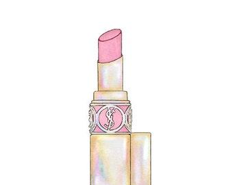 Yves Saint Laurent Lipstick Colorful Fashion Illustration Fine Art Print