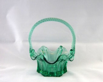 Fenton 9544 LE Sea Mist Green Vulcan Basket made for QVC and Yves Rocher (#C9544 LE) - Vintage Fenton Glass Basket