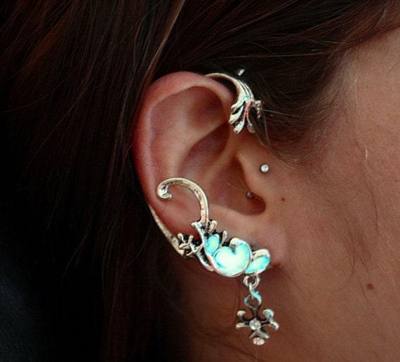 e7e950f0914a59 ... One Dark Ear Wax In Ear: Celtic EAR Cuff With Wind Dragon Cross GLOW In