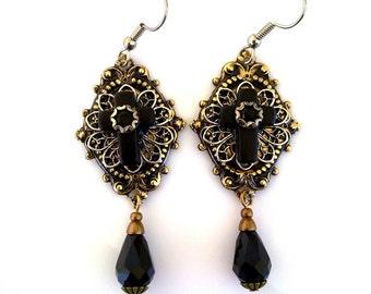 Gothic Black Cross Crystal Drop Earrings - Neo Victorian Jewelry