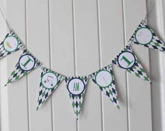 PREPPY ARGYLE GOLF Happy Birthday or Baby Shower Highchair Banner I Am One - Party Packs Available