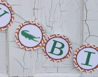 PREPPY CHEVRON ALLIGATOR Happy Birthday Party Banner Orange Brown - Party Packs Available