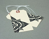 Moroccan Flower 10 Large Gift Tags - present tag, gift wrap.