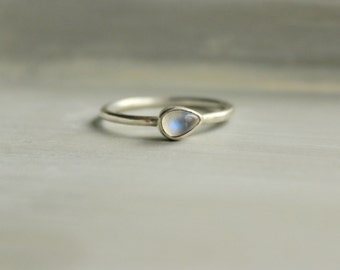 "Moonstone Ring Sterling Silver Royal Blue Moonstone AAA Quality--""Hush"""