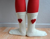 Heart Socks, Wool Socks, Unisex Socks in Cream Red, Christmas Gift, Winter Accessories