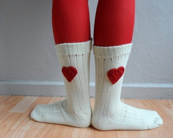 Heart Socks, Wool Socks, Unisex Socks in Cream Red, Christmas Gift, Winter Accessories