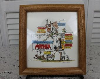 1993 Roger Mason Studios 'Domestic Engineering' Original Hand Watercolored Signed Print