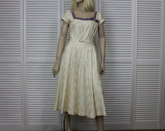 Vintage 1940s, 50s Jerry Gilden Spectator Ivory/Yellow Dress