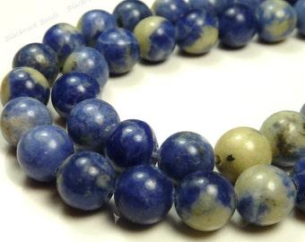 8mm Sodalite Natural Gemstone Beads - 15.5 Inch Strand - Round Beads, Denim Blue, Light Gray, Rustic - BG42