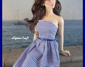 Blue Striped Dress for your Iplehouse SID with LB, and Other Similar Sized Dolls.  .OOAK