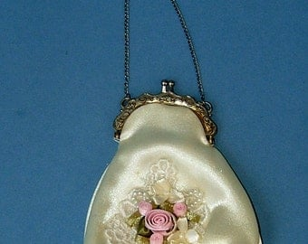 1940s Cream Coin Purse Bag Applique Pink Roses Bride Bridesmaid Wedding Vintage