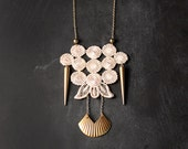 lace and spike necklace - the no. 044 - ivory and brass - modern - long necklace - gift for women - punk - geometric