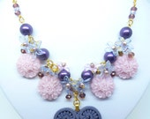 "Purple Heart Pendant - Resin Lilac Flowers - Pearls & Acrylic Flowers - Swarovski Crystals - Gold Plated - ""Plum Heart"""