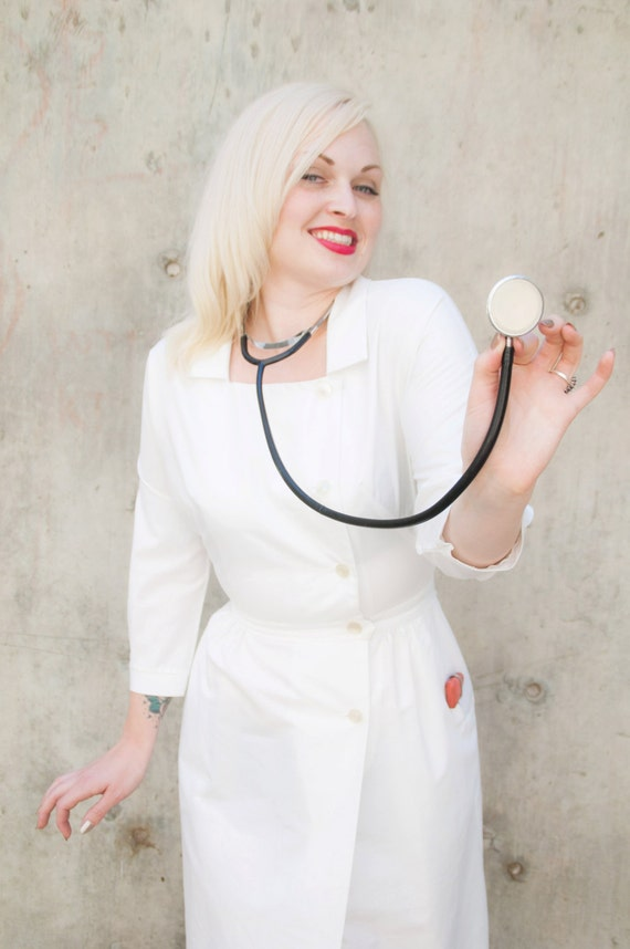 Vintage 1950s Nurse Dress White Medical Uniform Costume