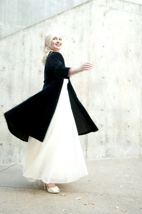 Vintage 1950s jacket, black velvet swing coat, wedding cover
