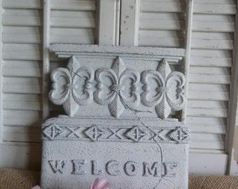 Fleur De Lis Welcome Sign, Cottage Chic White Welcome Sign, Door Decor, Apartment Decor, Parisian Chic