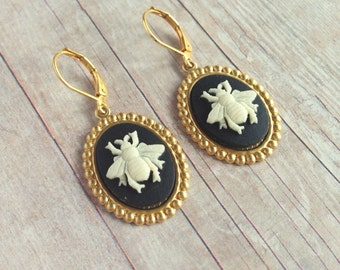Bee Earrings Insect Jewelry Honeybee Bug Wings
