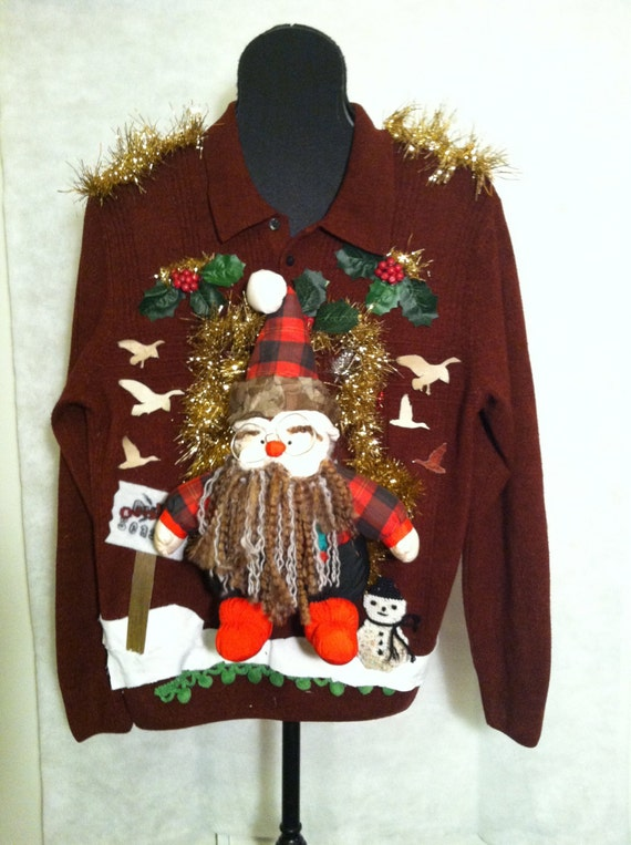 Ugly Christmas Sweater Large Duck Dynasty, Uncle Si, Hunting, Camo, Duck Hunting, Santa, Snowman