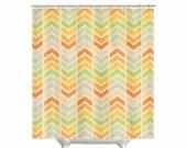 "Fabric Shower Curtain ""Infinity"" , Chevron, Colorful, Rainbow, Bathroom, Bath, Custom,Shower, Home Decor, Arrow, Geometric, Design"