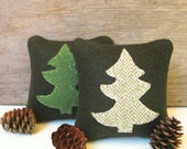 Balsam Pillow,  Pine Tree Pillow, Rustic Cabin Pillow, 4 Inch Square Pillow