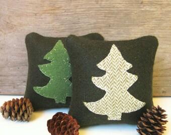 Balsam Pillow, Pine Tree Pillow, Rustic Cabin Pillow, Maine Balsam Pillow, Little Pillow, 4 Inch Square Pillow