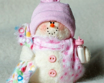 Baby Girl Snowman Ornament