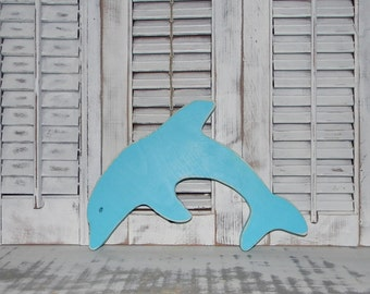 Wood Dolphin Sign Wall Decor Distressed Nautical Coastal Beach Decor