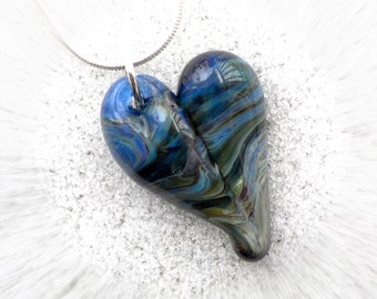 Heart Necklace Glass Jewelry Pendant Lampwork Boro Heart Earth View