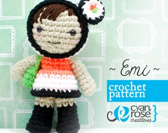 Emi Crochet Pattern - Instant Download -Emi Sushi Doll - amigurumi CROCHET PATTERN ONLY