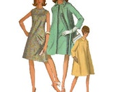 Retro Simplicity 1960s Sewing Pattern Mad Men Style Sheath Dress Duster Jacket Swing Coat A-line Trapeze Cut Bust 38