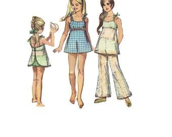 Girls Summer Pants Tank Top Bikini Bathing Suit Simplicity 1970s Sewing Pattern Swimsuit Beach Bust 28