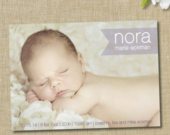modern birth announcement. Sophisticated baby boy or girl modern birth announcement.