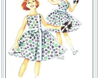 McCall's 5017 Vintage 50s Lovely Girl's Party or Play Dress with Attached Petticoat and Contrast trim and Bow Sewing Pattern Size 12