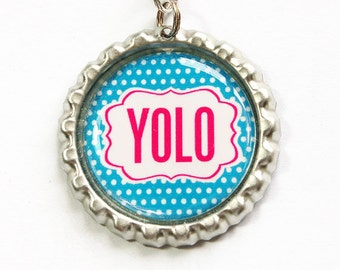 Yolo, Yolo zipper pull, Your Only Live Once, zipper charm, Yolo charm, zipper pull, purse charm, Blue, Pink, Polka Dot (2853)