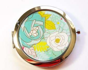 Flower compact mirror, mirror, compact mirror, floral mirror, Turquoise, yellow, flower mirror, floral compact (3017)