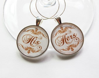 His Hers Wine Charms, Wine Charms, Wedding Wine Charms, Wedding Shower, Bridal Shower, table setting, silver plate, His and Hers (3097)