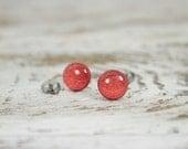 RUBY REDS - Scrapbook Post Earrings - Red Metallic and Shimmer Stud Earrings by Blissful Bird Studio