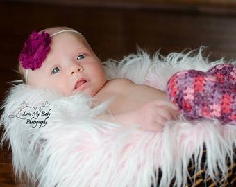 Crocheted Newborn Girls Pink & Purple Leg Warmers Pair Photo Prop READY TO SHIP