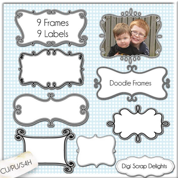 9 Digital Scrapbooking Doodle Frames // Clip art Clipart // Decorative Border // Craft DIY Invitations // Commercial Use