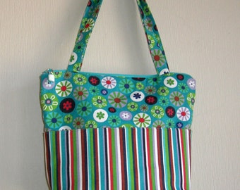 One of a kind canvas purse with coordinating floral and stripe by Florence